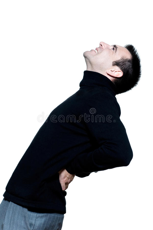 Dolor caucásico del dolor de espalda del hombre imágenes de archivo libres de regalías