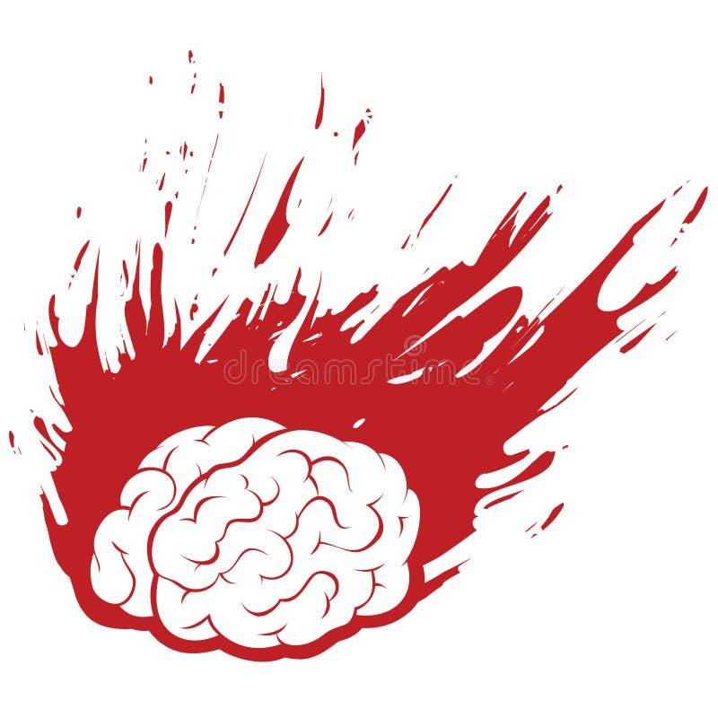Dolor de cabeza ardiente del cerebro con el fuego o la pintura de Grunge stock de ilustración