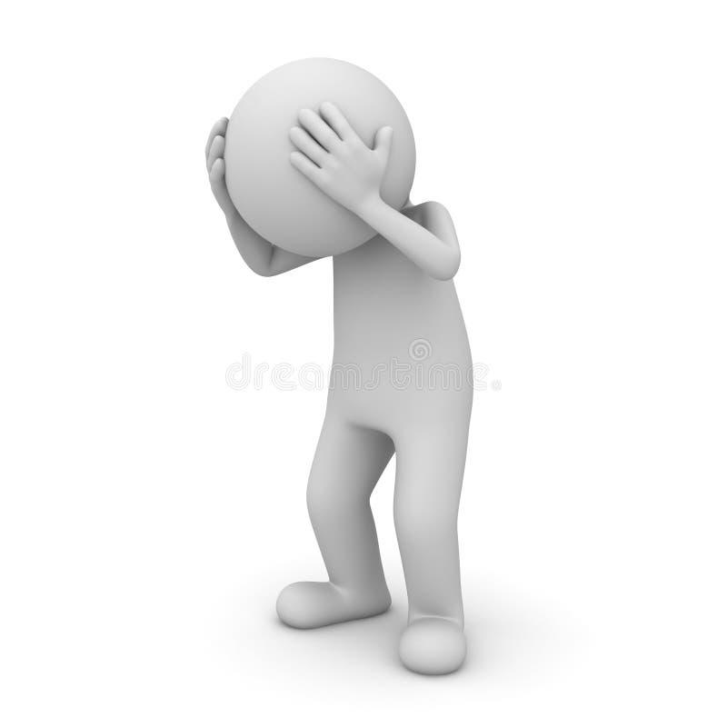 dolor de cabeza del hombre 3d en el fondo blanco stock de ilustración