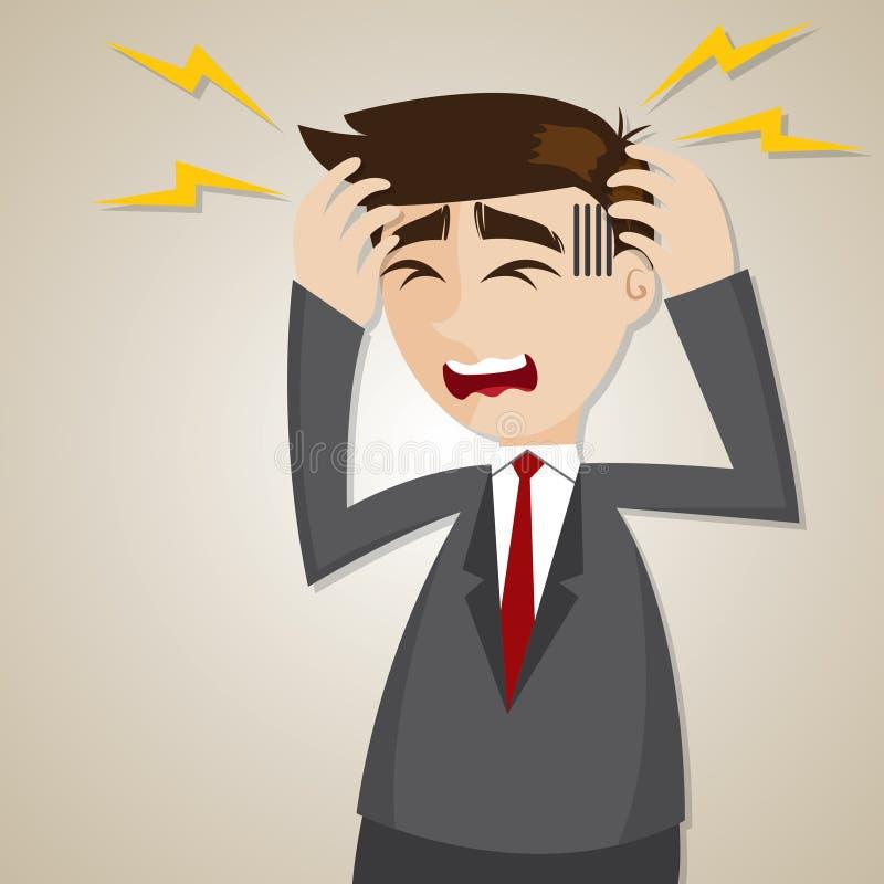 Dolor de cabeza del hombre de negocios de la historieta ilustración del vector