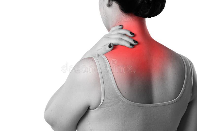Dolor de cuello, mujer con dolor de espalda aislada en el fondo blanco imágenes de archivo libres de regalías