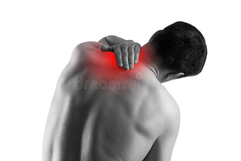 Dolor de cuello, sufrimiento del hombre del dolor de espalda aislado en el fondo blanco imagen de archivo libre de regalías