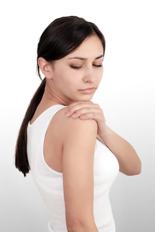 Dolor de cuerpo Dolor hermoso en codos, brazo doloroso de la sensación de la mujer imagen de archivo