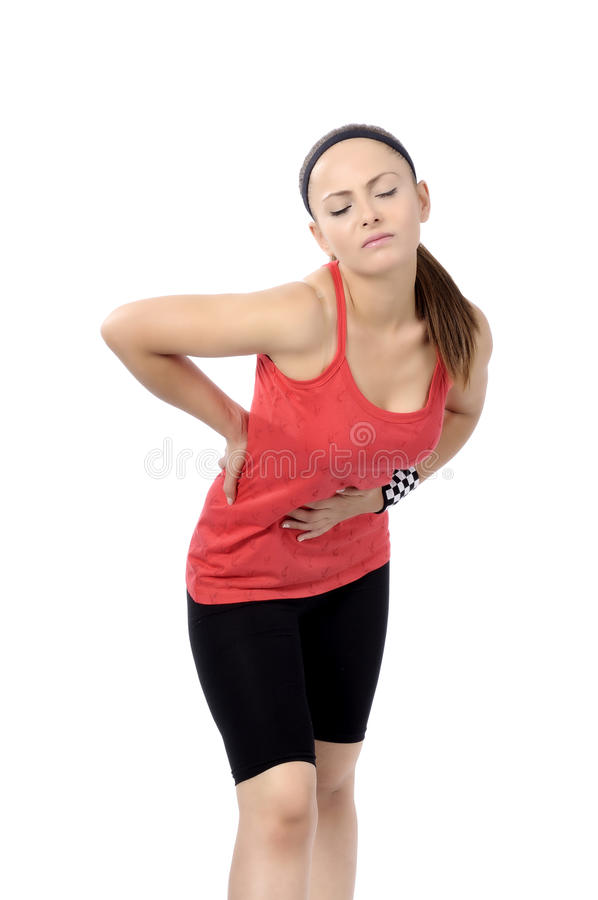 Dolor de espalda de la mujer imagenes de archivo