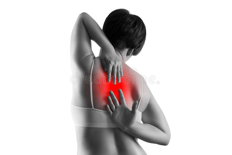 Dolor de espalda, sufrimiento de la mujer del dolor de espalda aislado en el fondo blanco imágenes de archivo libres de regalías