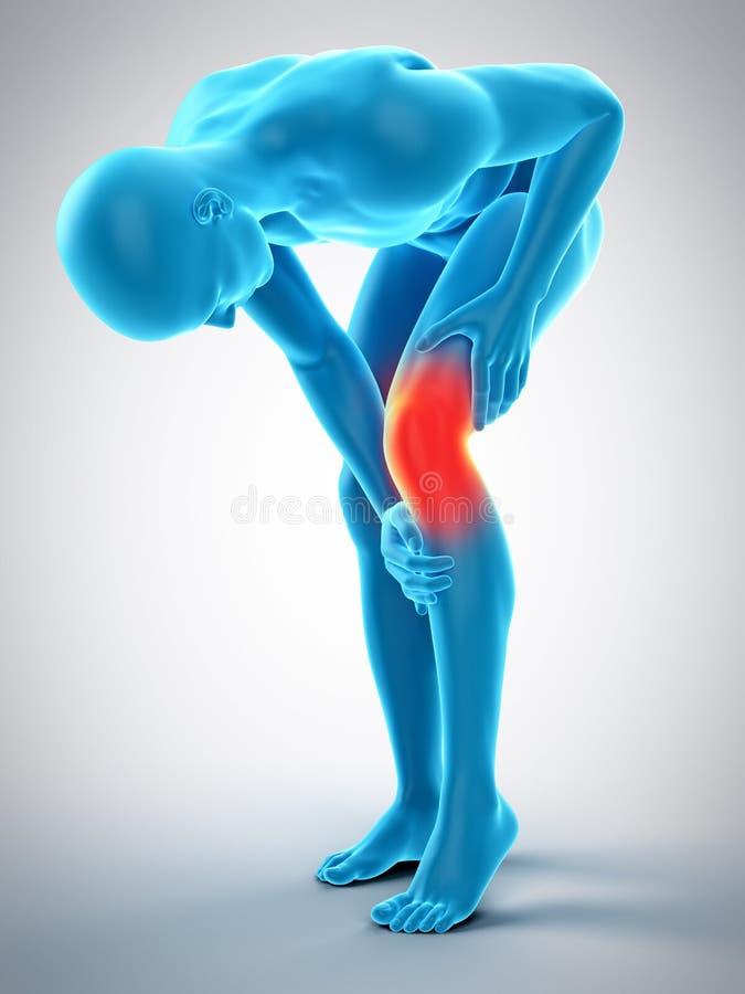 Dolor de la rodilla ilustración del vector
