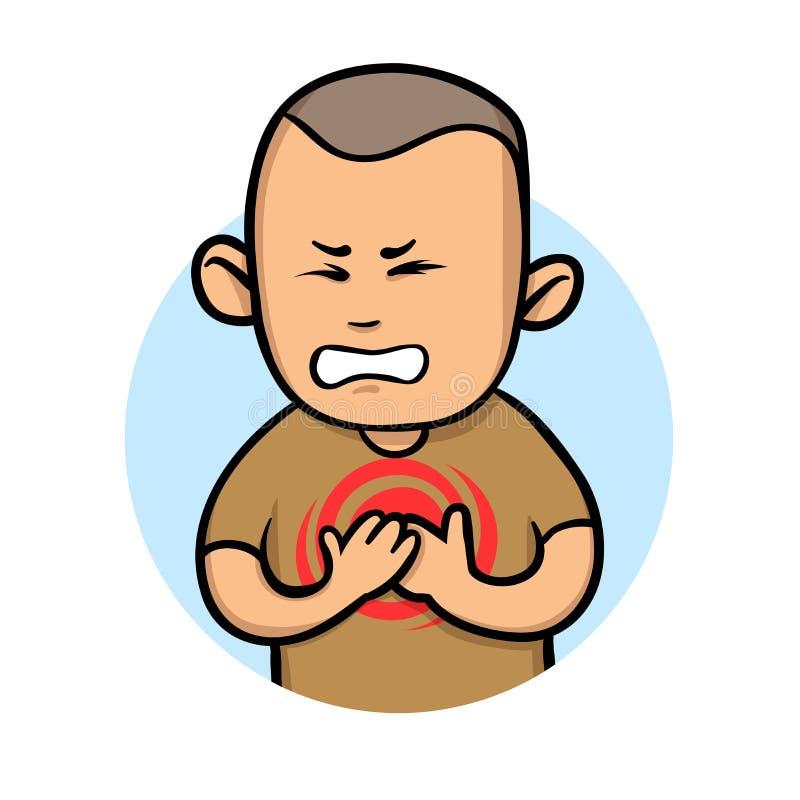 Dolor de pecho de la sensación del hombre joven Ataque de la angina y del corazón Ejemplo plano del vector Aislado en el fondo bl stock de ilustración