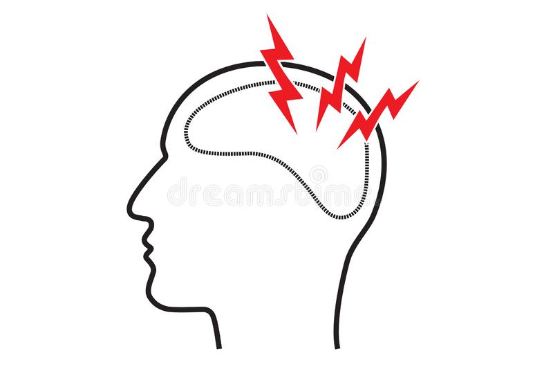 Dolor del dolor de cabeza de la jaqueca y concepto de la imagen de la enfermedad de sistema nervioso central Esquema del perfil d libre illustration
