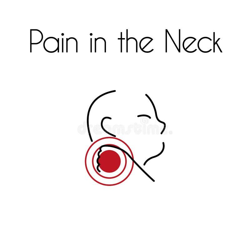 Dolor del vector en el icono linear del cuello del hombre joven ilustración del vector