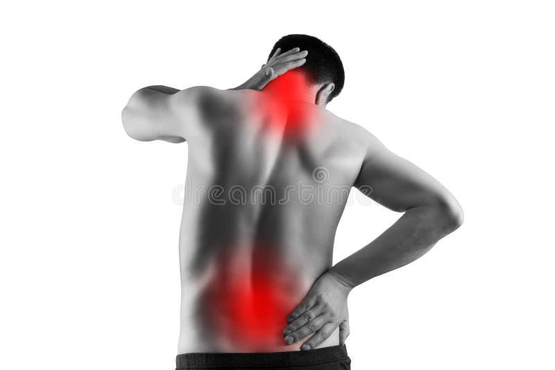 Dolor en el cuerpo masculino, el hombre con el dolor trasero, la ciática y la escoliosis aislados en el fondo blanco, concepto de imagen de archivo libre de regalías