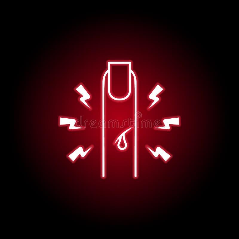 dolor en el icono del finger en el estilo de neón Elemento del dolor del cuerpo humano para el ejemplo m?vil de los apps del conc libre illustration