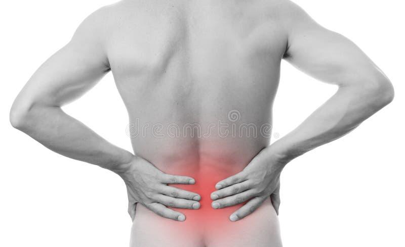 Dolor en el más de espalda en hombres fotos de archivo