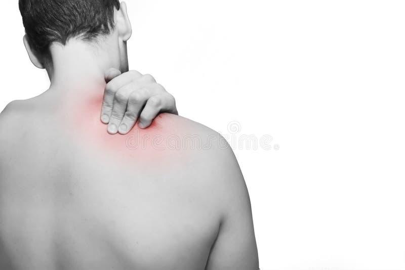 Dolore al collo/della parte posteriore immagini stock libere da diritti