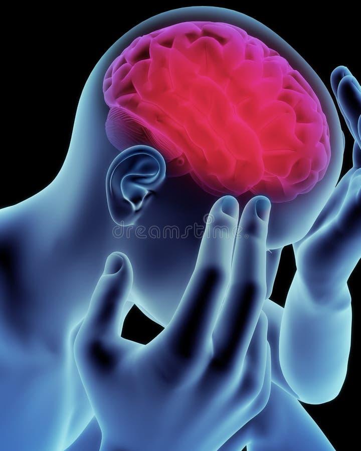 Dolore capo del cervello illustrazione vettoriale