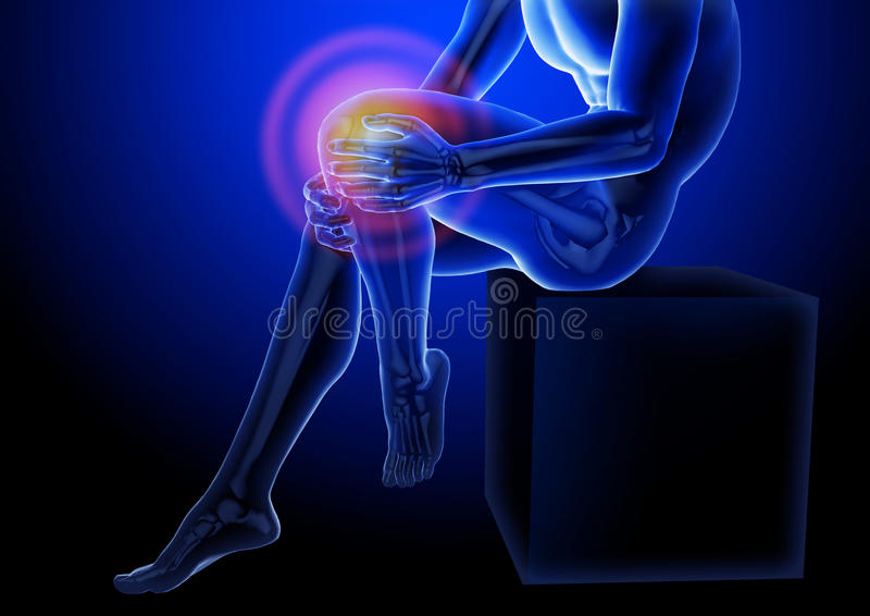 Dolore del ginocchio Raggi x dello scheletro e delle gambe Ente anatomico di un uomo messo illustrazione medica 3D illustrazione vettoriale