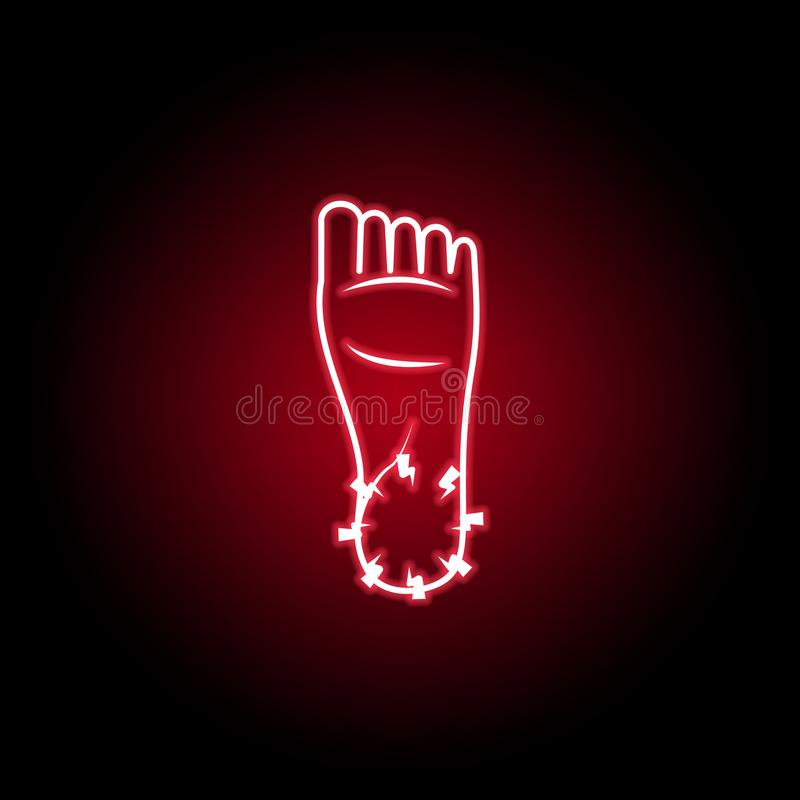 dolore nell'icona del piede nello stile al neon Elemento di dolore del corpo umano per l'illustrazione mobile dei apps di web e d illustrazione di stock