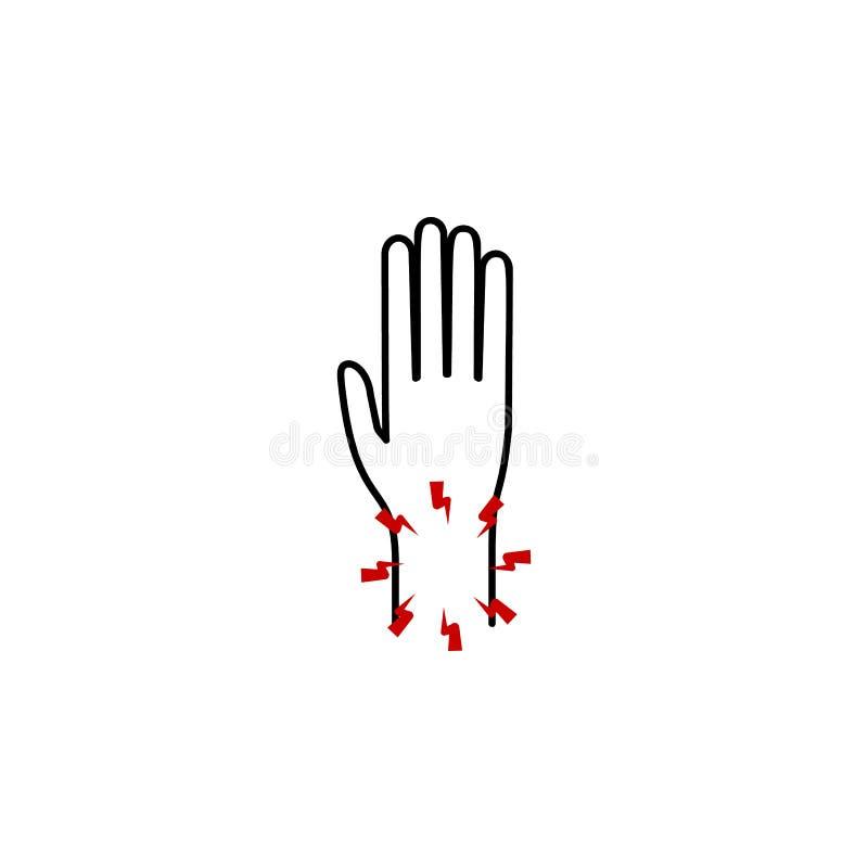 dolore nell'icona del polso Elemento di dolore del corpo umano per l'illustrazione mobile dei apps di web e di concetto Linea sot royalty illustrazione gratis