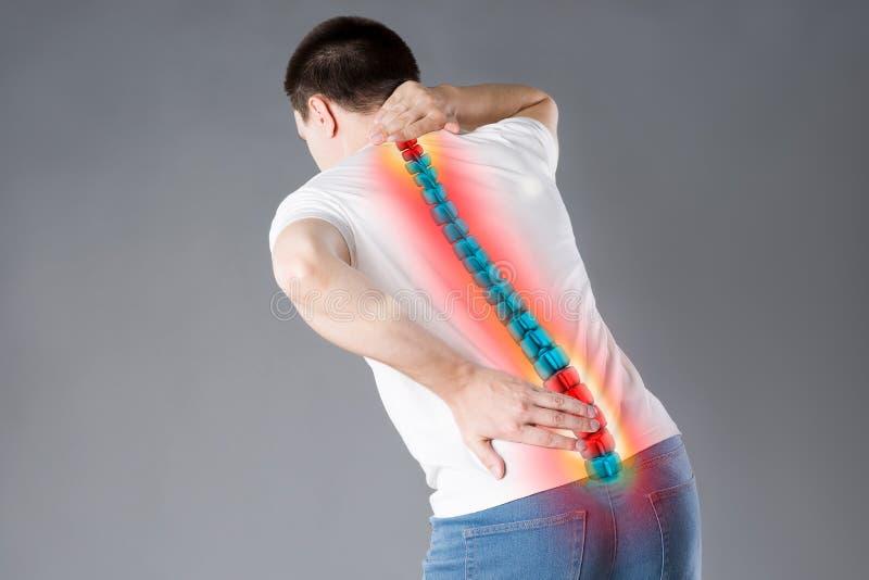 Dolore nella spina dorsale, un uomo con il mal di schiena, lesione nella parte posteriore umana, concetto di trattamenti di chiro immagine stock