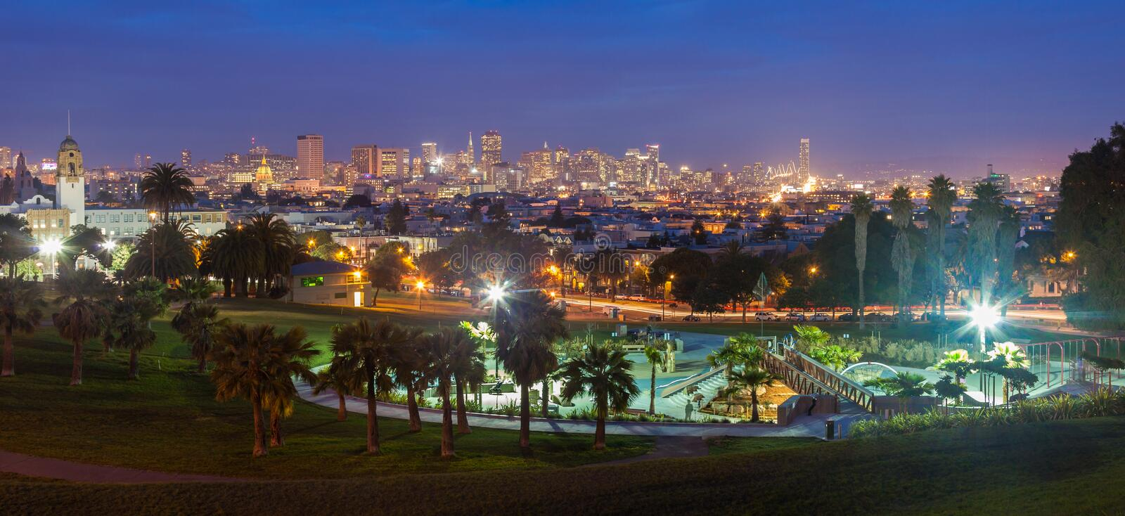 Dolores Park at Night stock images