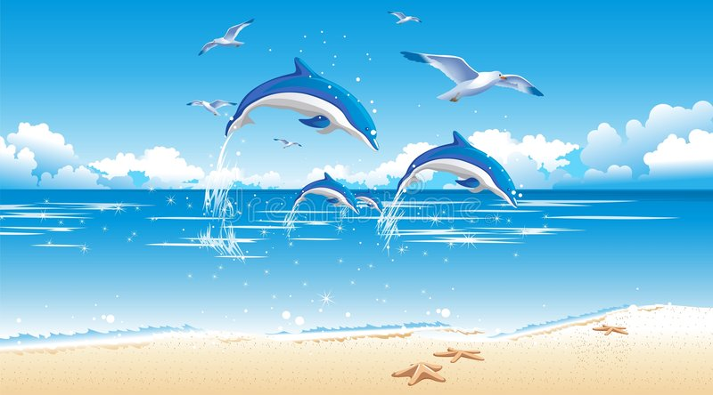 Dolphin and beach. Rest on coast of island with dolphins vector