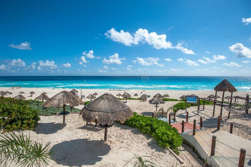 Dolphin Beach panorama, Cancun, Mexico stock photography