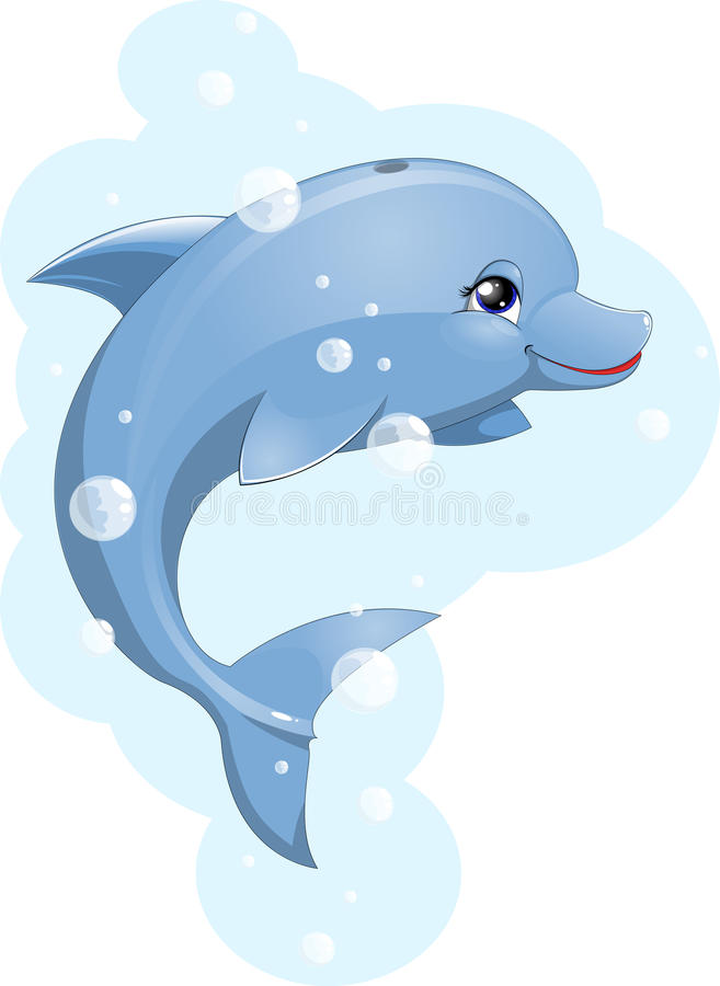 Dolphin. Beautiful delfinchik against bubbles and the sea royalty free illustration