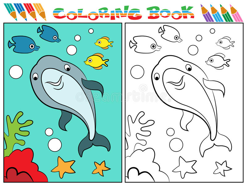 download dolphin coloring book stock vector image of color education 47123101 - Dolphin Coloring Book
