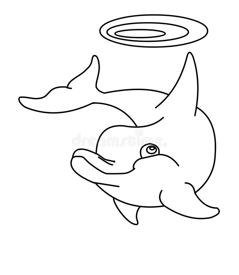 Dolphin coloring page. Hand drawn dolphin coloring page for kids stock illustration