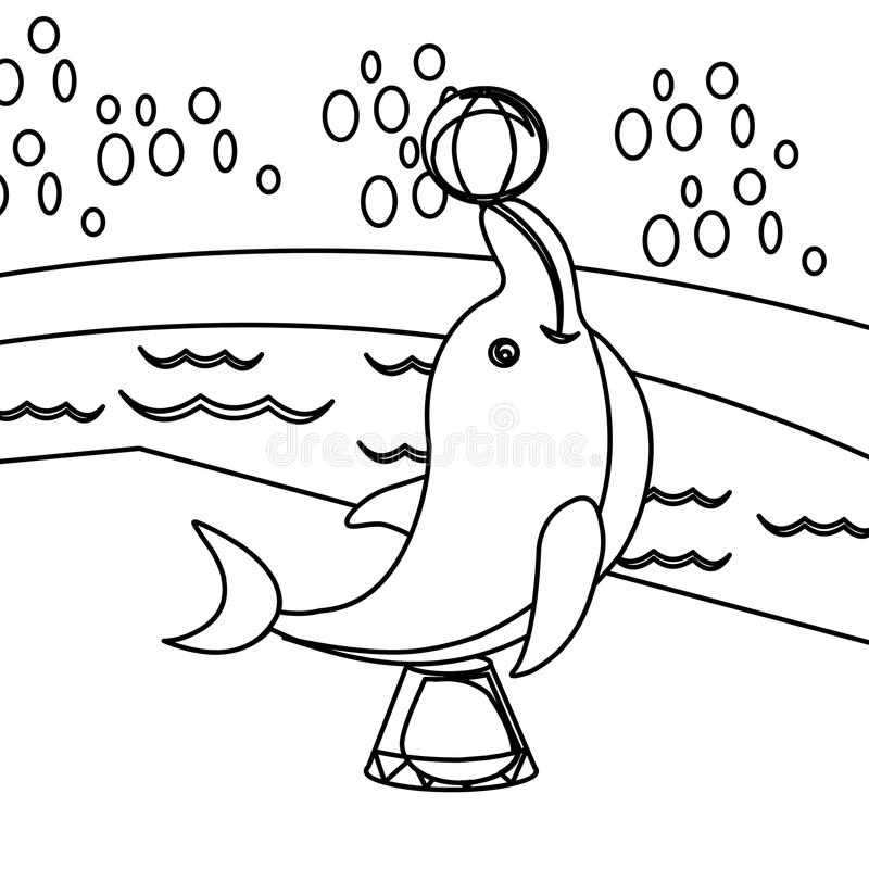 Dolphin coloring page. Hand drawn playful dolphin coloring page for kids vector illustration