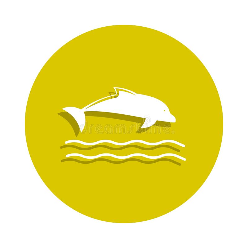 dolphin icon in badge style. One of sheashell beach collection icon can be used for UI, UX royalty free illustration
