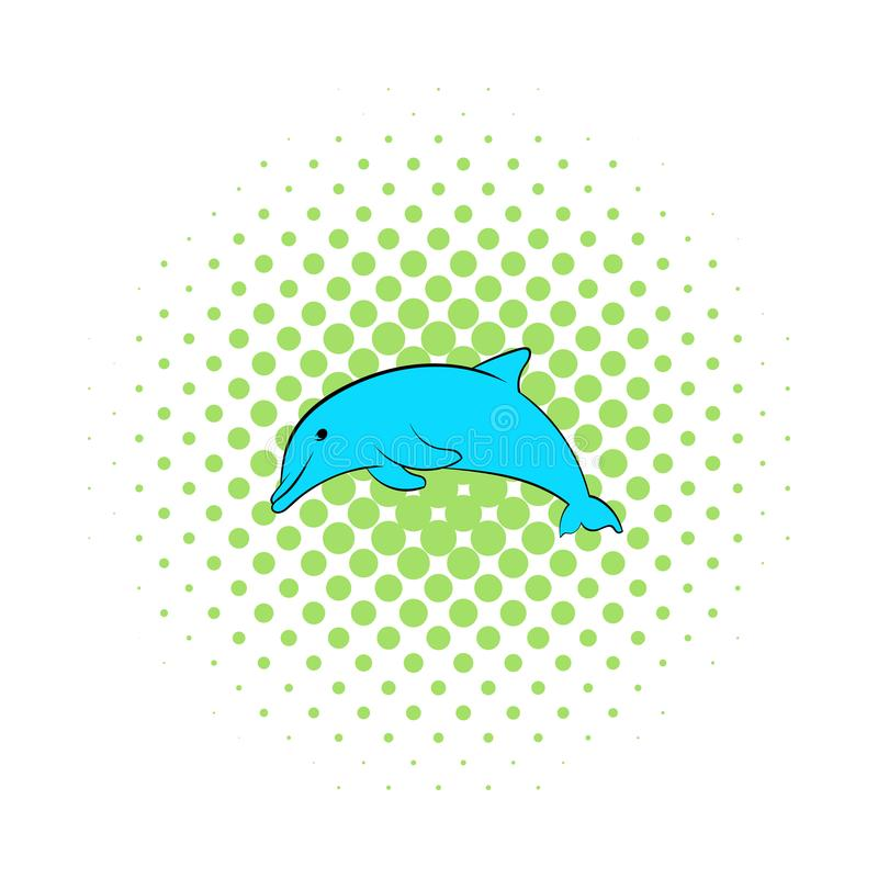 Dolphin icon, comics style. Dolphin icon in comics style isolated on white background stock illustration
