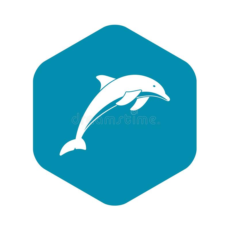 Dolphin icon, simple style stock illustration