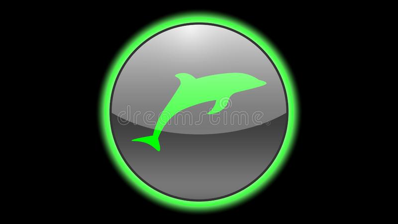 Dolphin icon vector design. Green neon icons with animals. Animals icons vector stock illustration