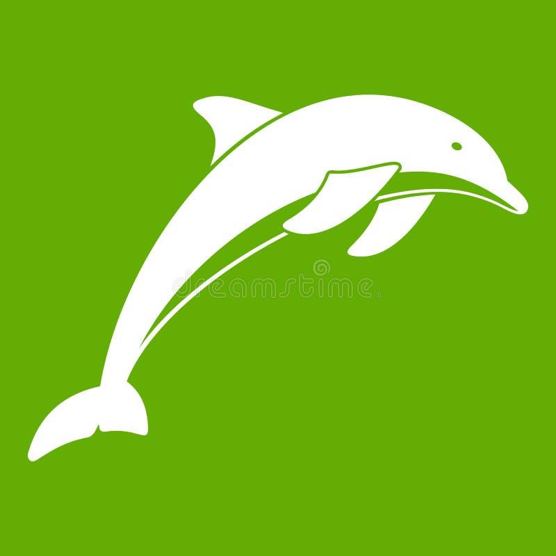 Dolphin icon green vector illustration