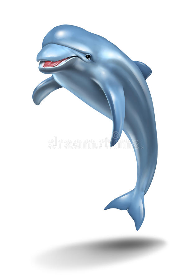Dolphin Jump. Ing in the air on a white background as a playful nature symbol of ocean life with a smiling happy aquatic mammal on a three quarter forced vector illustration