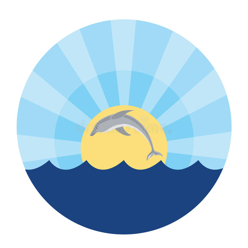 Dolphin jumping out of the water stock illustration