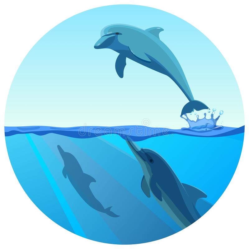Dolphin jumping out of water in deep blue sea, vector royalty free illustration