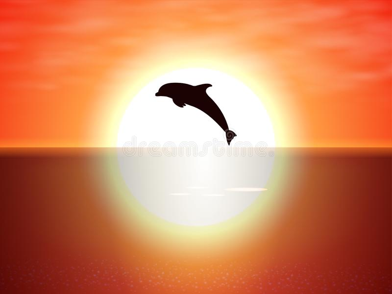 Dolphin jumping over the water of the sunset sun vector illustration