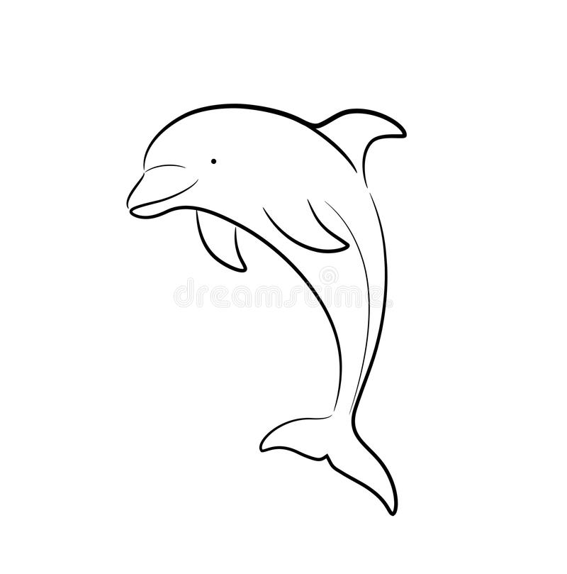Line Art Dolphin : Dolphin line art doodle stock vector illustration of