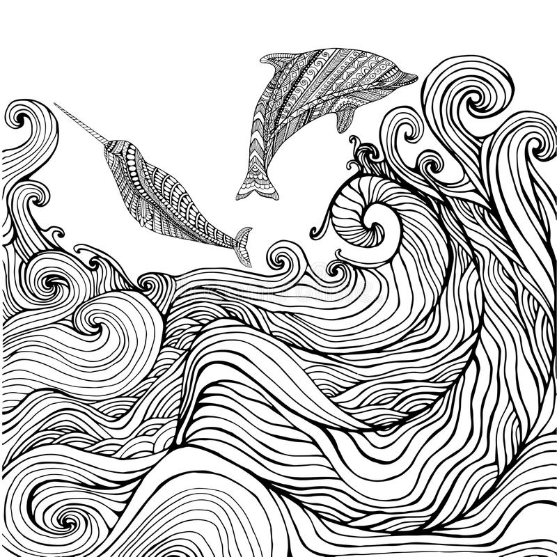 Dolphin and narwhal and ocean waves coloring page for children a. Nd adults. Pattern isolated. Cartoon character decorative element. Vector hand drawn anti stock illustration