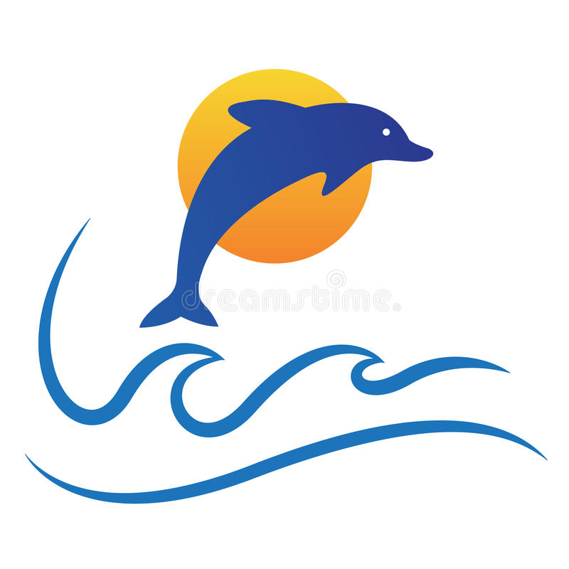 Dolphin ocean waves sun sea logo fish symbol vector icon design. vector illustration