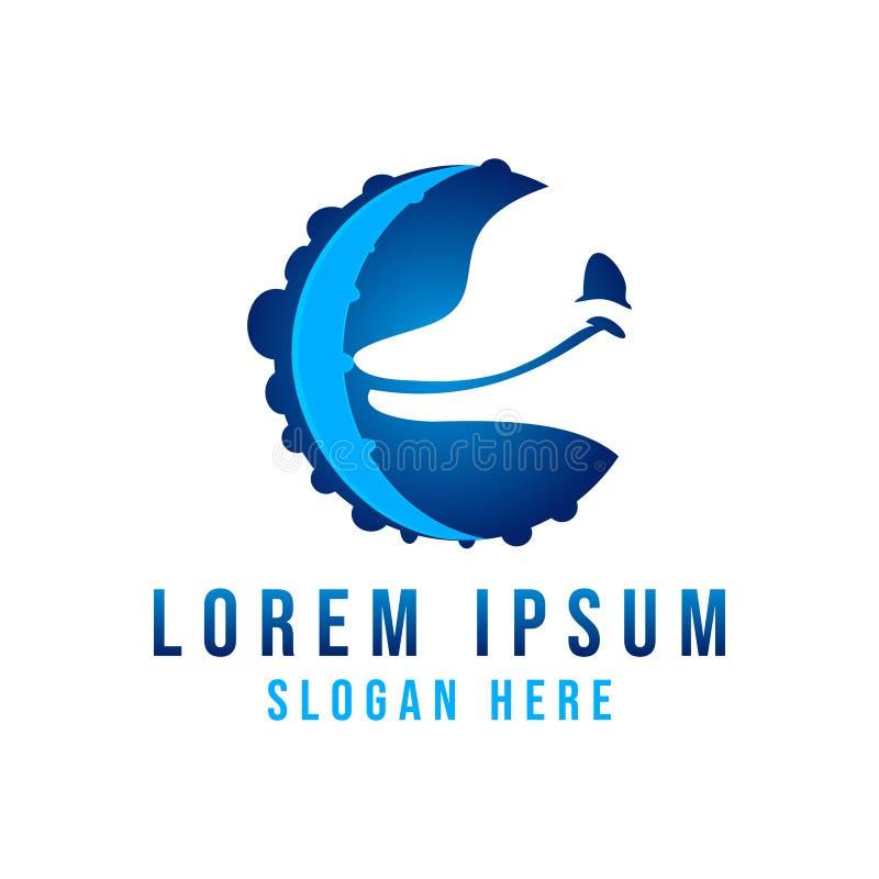 dolphin, octopus logo Ideas. Inspiration logo design. Template Vector Illustration. Isolated On White Background royalty free illustration
