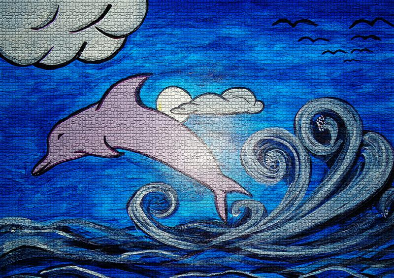 Dolphin painting on canvas created background design. As abstract wallpaper stock photography