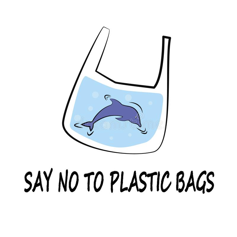 Dolphin Say No to Plastic Vector Illustration Doodle Style stock illustration