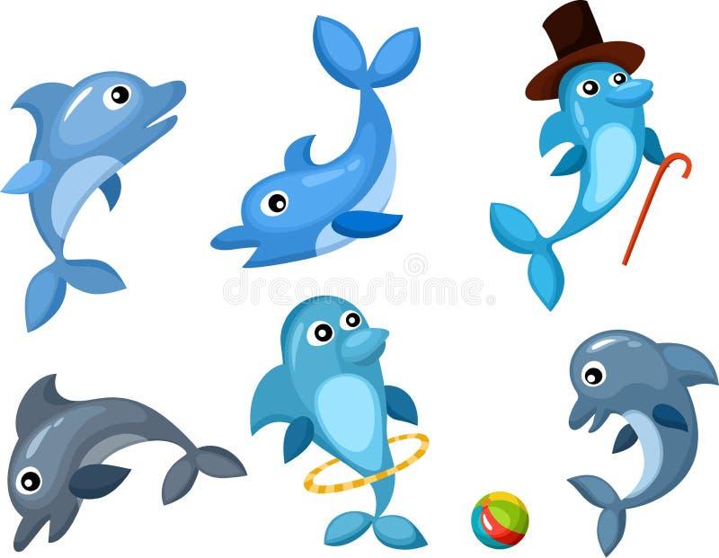 Dolphin set stock illustration