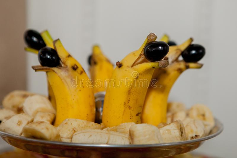 Dolphin shaped fruit plate. Dolphins of banana and grapes royalty free stock image