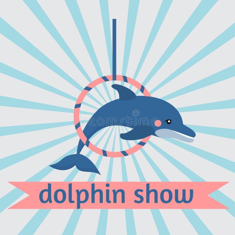 Dolphin show, dolphinarium, sea lion, seal, aqua circus, ocian animal. Dolphin show dolphinarium, sea lion, seal, aqua circus and ocian animal stock illustration