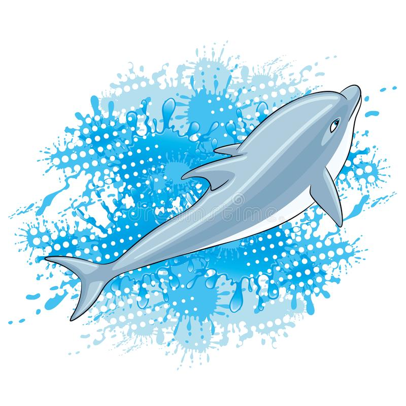 Dolphin and water splash. Dolphin and water splash on a white background royalty free illustration