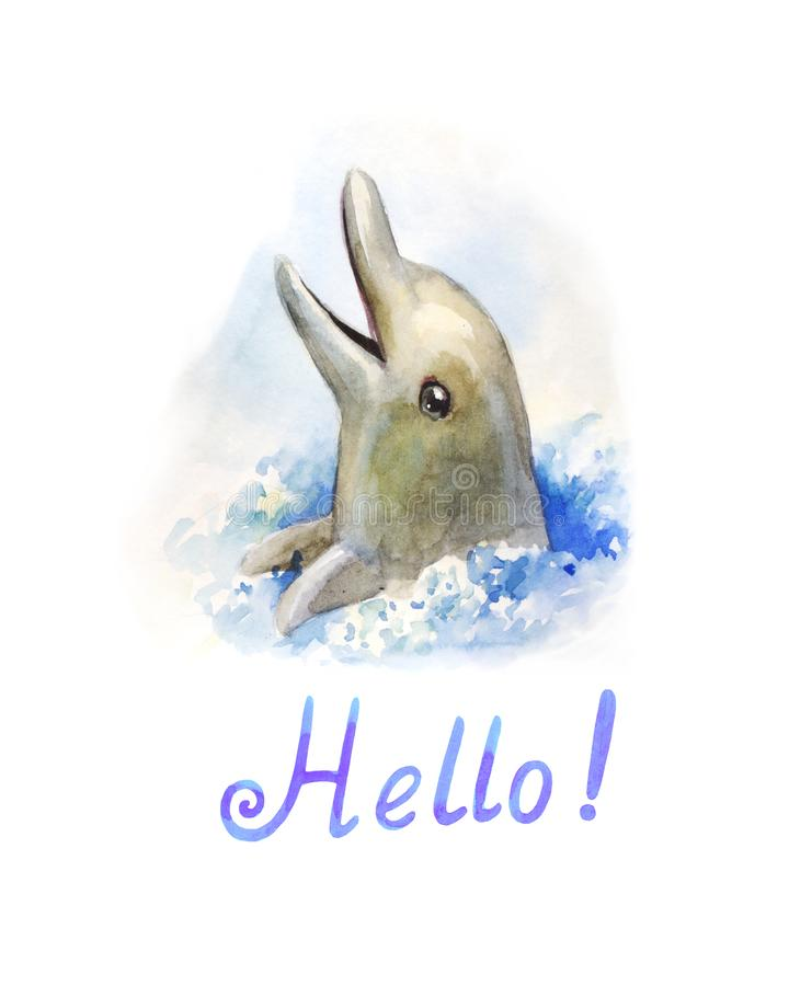 Dolphin in the water. Watercolor illustration. Cute and funny character stock photography