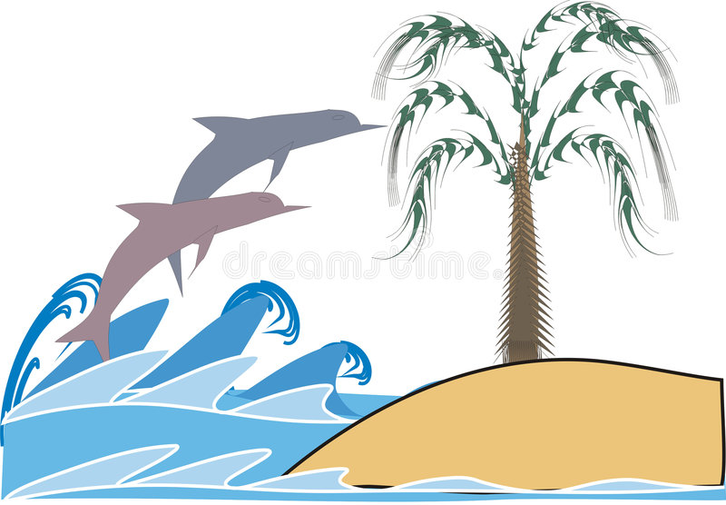 Download Dolphin in waves stock vector. Image of silhouette, island - 2625548